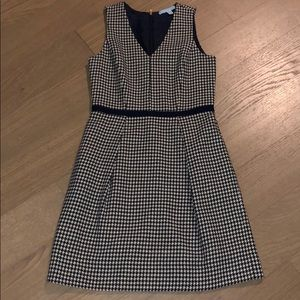 Draper James Wool Navy Houndstooth Dress
